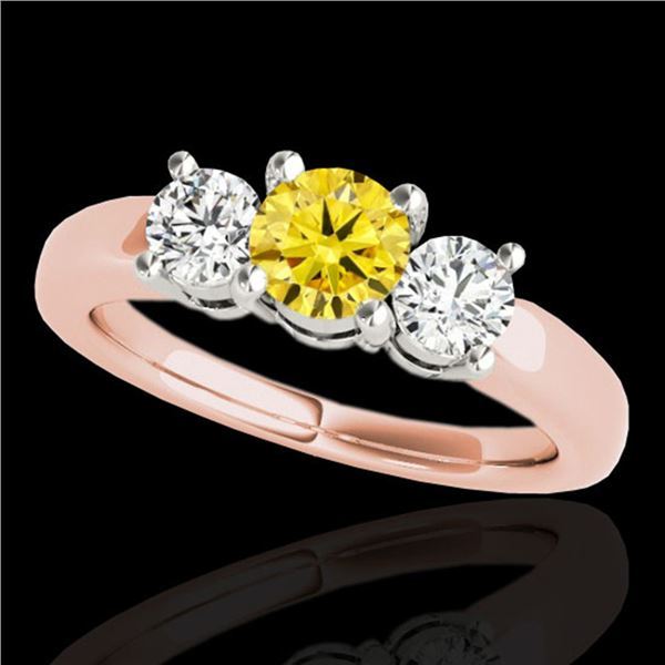 2 ctw SI/I Fancy Intense Yellow Diamond 3 Stone Ring 10k Rose Gold - REF-262F4M