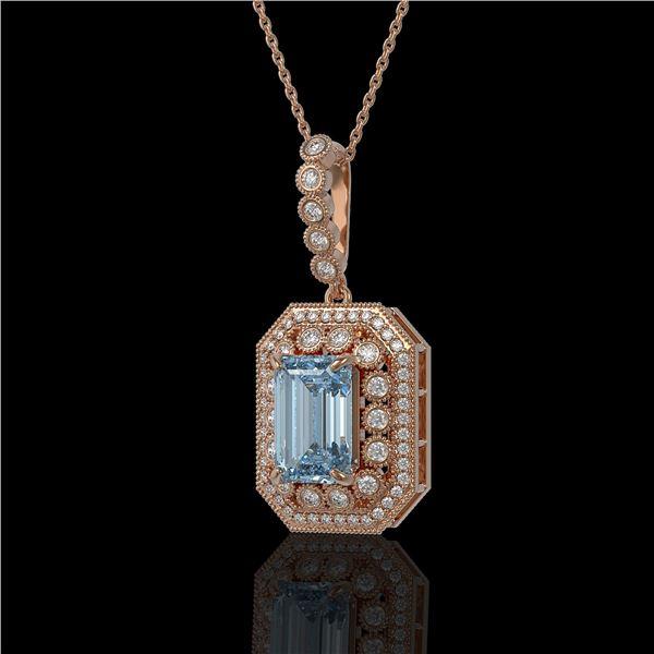 5.66 ctw Aquamarine & Diamond Victorian Necklace 14K Rose Gold - REF-172N8F