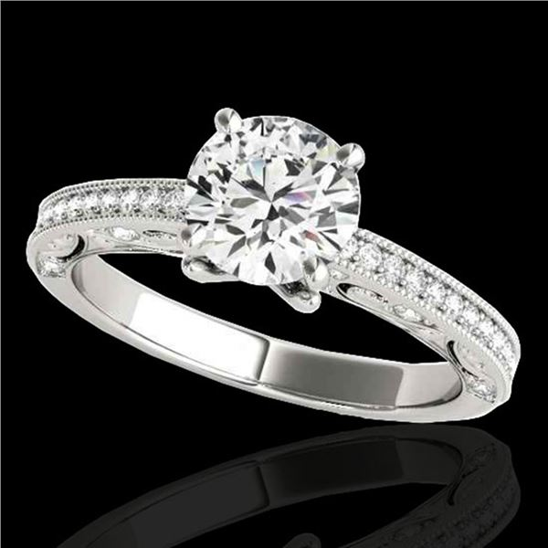 1.25 ctw Certified Diamond Solitaire Antique Ring 10k White Gold - REF-184Y3X