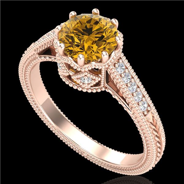 1.25 ctw Intense Fancy Yellow Diamond Art Deco Ring 18k Rose Gold - REF-300M2G