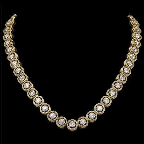 30.78 ctw Diamond Micro Pave Necklace 18K Yellow Gold - REF-3575G2W