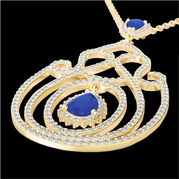 3.20 ctw Sapphire & Micro Pave Diamond Heart Necklace 14k Yellow Gold - REF-212X8A