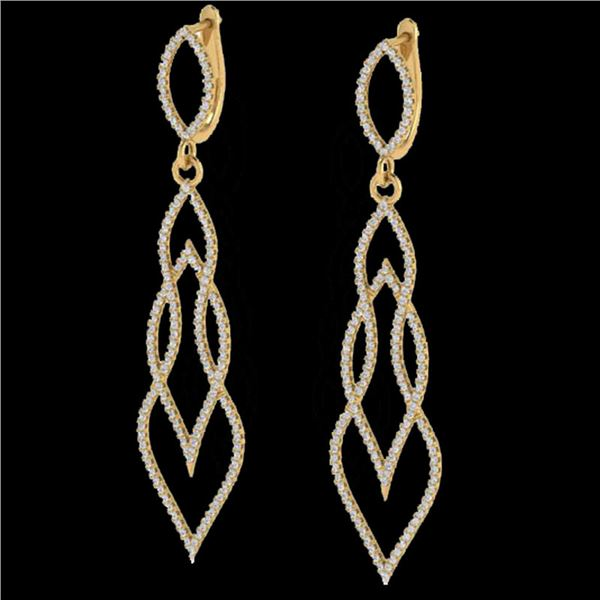 1.90 ctw Micro Pave VS/SI Diamond Certified Earrings 14k Yellow Gold - REF-143X5A