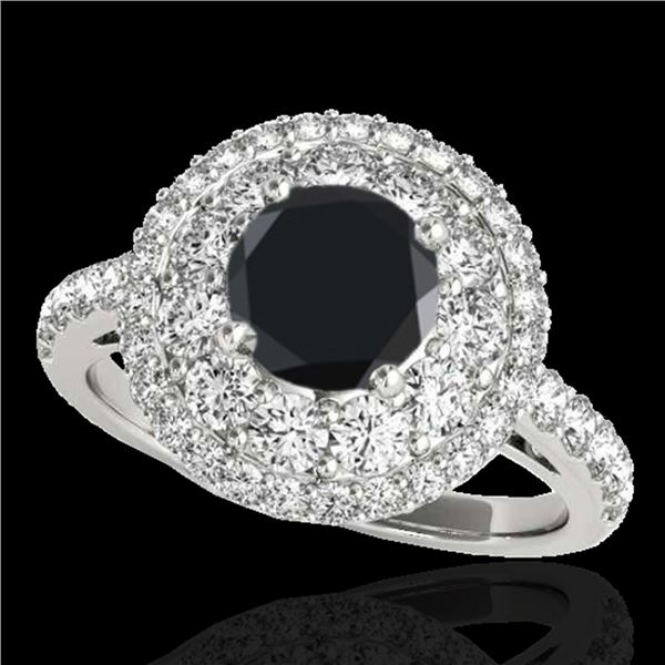 2.09 ctw Certified VS Black Diamond Solitaire Halo Ring 10k White Gold - REF-92X8A