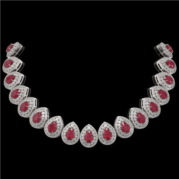 121.42 ctw Certified Ruby & Diamond Victorian Necklace 14K White Gold - REF-3416W5H