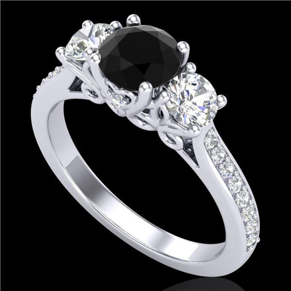 1.67 ctw Fancy Black Diamond Art Deco 3 Stone Ring 18k White Gold - REF-156Y4X