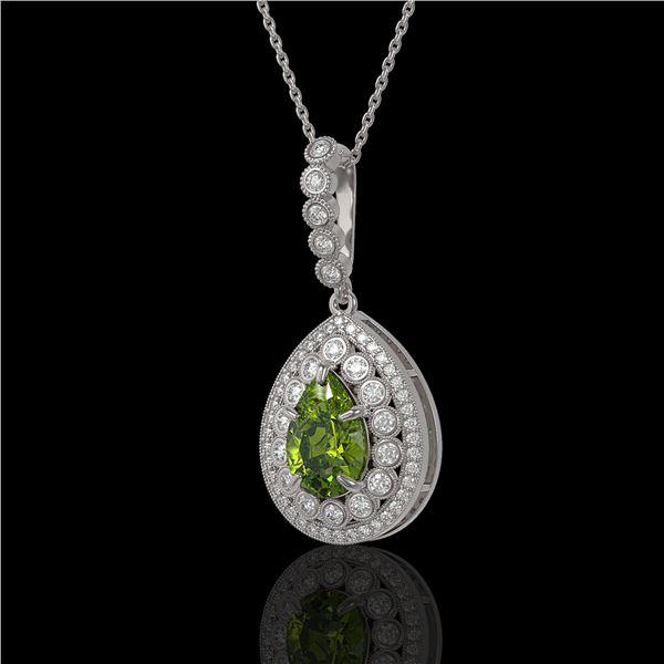 4.97 ctw Tourmaline & Diamond Victorian Necklace 14K White Gold - REF-164G2W