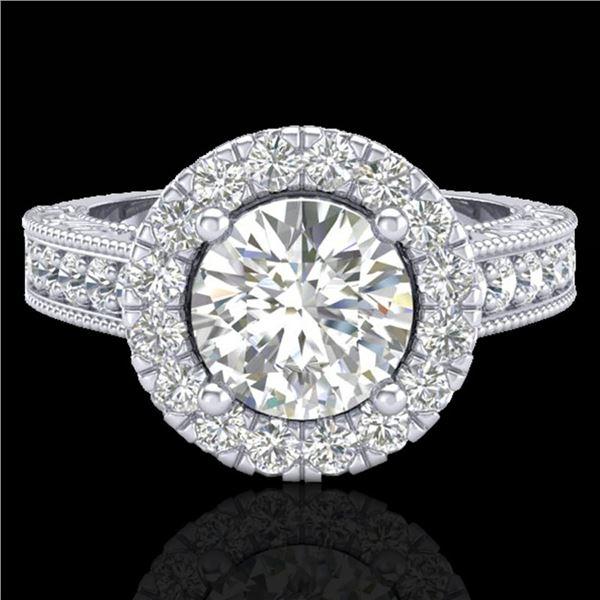 2.25 ctw Vintage VS/SI Diamond Halo Ring 14k White Gold - REF-541W8H
