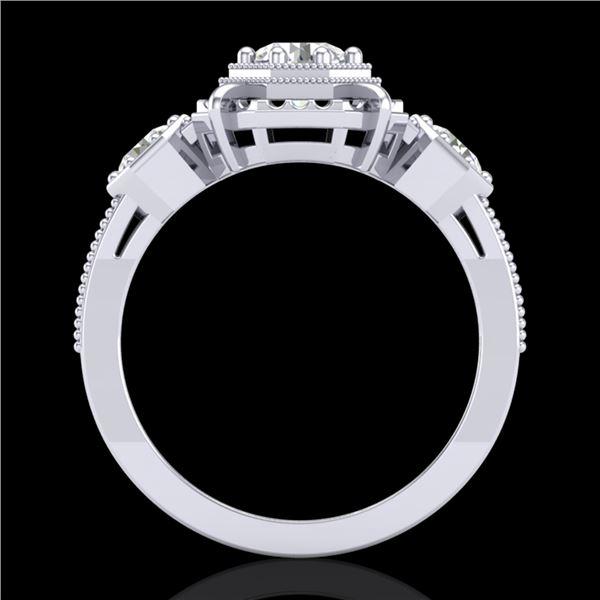 1.01 ctw VS/SI Diamond Solitaire Art Deco 3 Stone Ring 18k White Gold - REF-170M9G