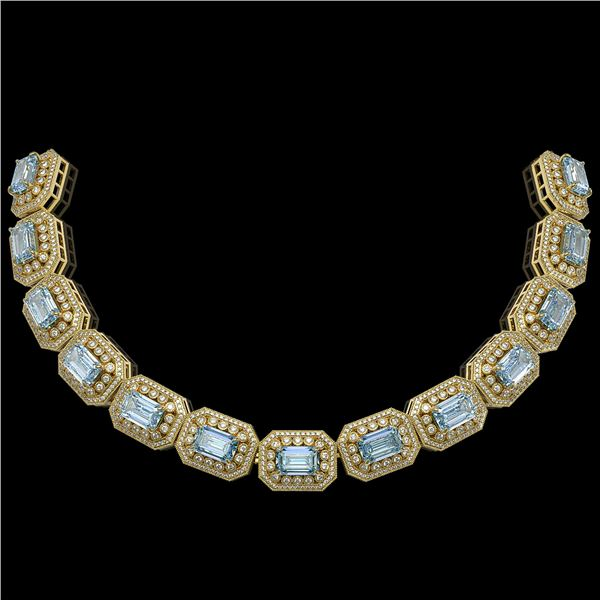 109.25 ctw Aquamarine & Diamond Victorian Necklace 14K Yellow Gold - REF-3037M8G