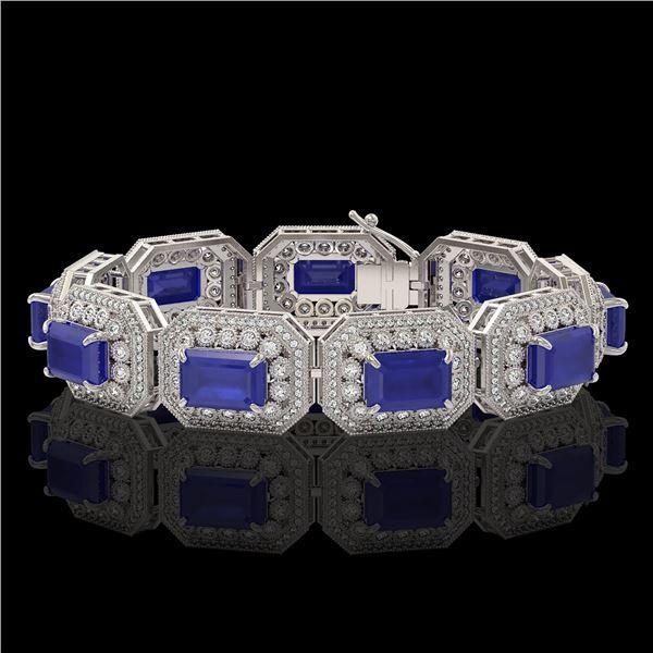 61.92 ctw Sapphire & Diamond Victorian Bracelet 14K White Gold - REF-1288R4K