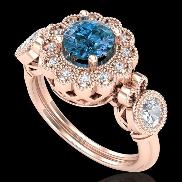1.5 ctw Intense Blue Diamond Art Deco 3 Stone Ring 18k Rose Gold - REF-218R2K