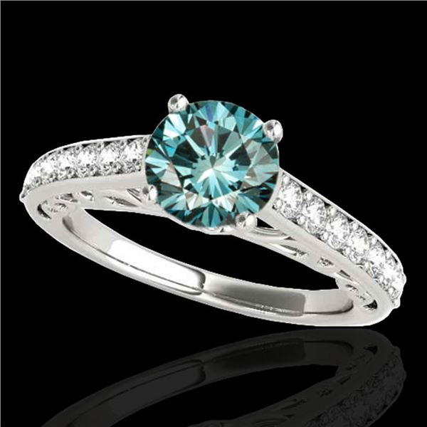 1.4 ctw SI Certified Fancy Blue Diamond Solitaire Ring 10k White Gold - REF-121X4A