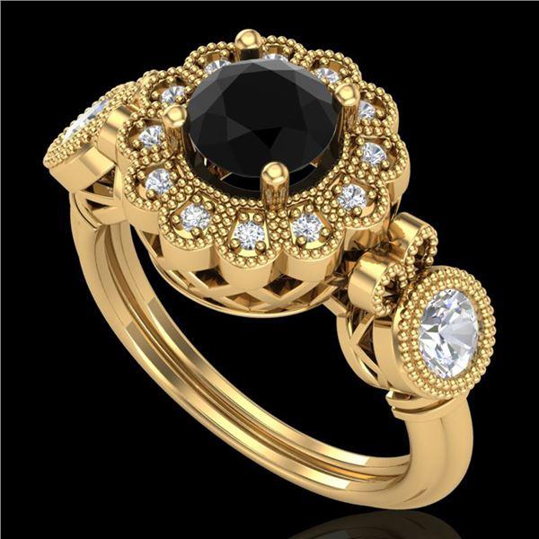 1.5 ctw Fancy Black Diamond Art Deco 3 Stone Ring 18k Yellow Gold - REF-170F2M