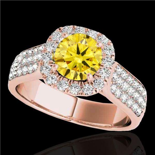 1.8 ctw Certified SI/I Fancy Intense Yellow Diamond Ring 10k Rose Gold - REF-211Y4X
