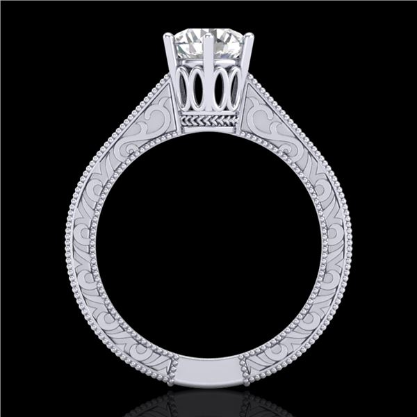 1 ctw VS/SI Diamond Solitaire Art Deco Ring 18k White Gold - REF-330M2G
