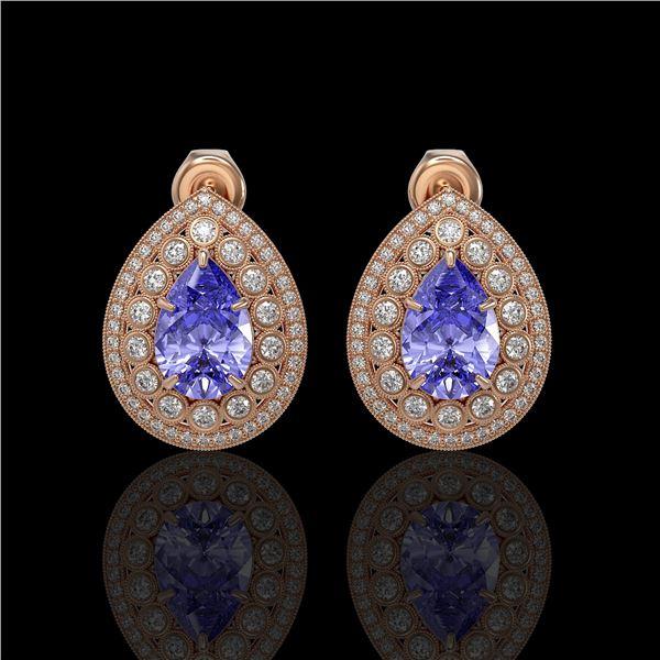 8.54 ctw Tanzanite & Diamond Victorian Earrings 14K Rose Gold - REF-436W4H