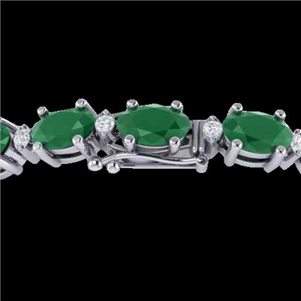 15 ctw Emerald & VS/SI Diamond Certified Eternity Bracelet 10k White Gold - REF-122G8W