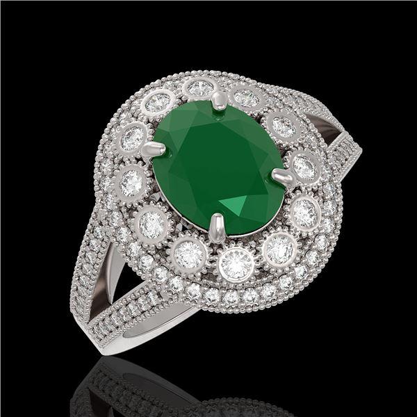 4.55 ctw Certified Emerald & Diamond Victorian Ring 14K White Gold - REF-143N6F