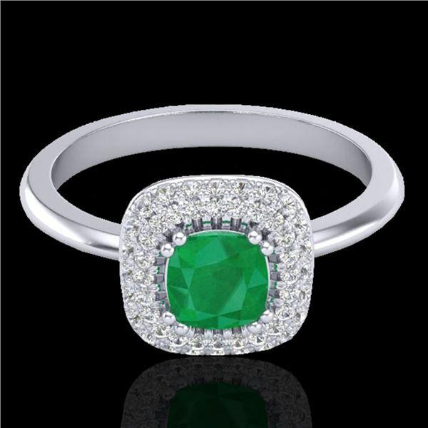 1.16 ctw Emerald & Micro VS/SI Diamond Ring Halo 18k White Gold - REF-80N2F