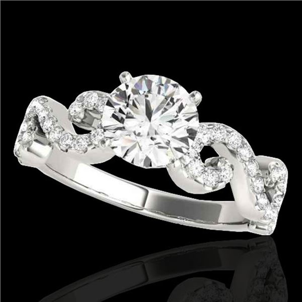 1.4 ctw Certified Diamond Solitaire Ring 10k White Gold - REF-190N9F