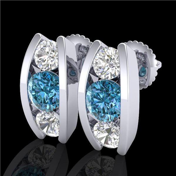 2.18 ctw Fancy Intense Blue Diamond Art Deco Earrings 18k White Gold - REF-254G5W