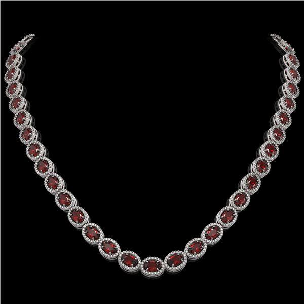 32.82 ctw Garnet & Diamond Micro Pave Halo Necklace 10k White Gold - REF-600M2G