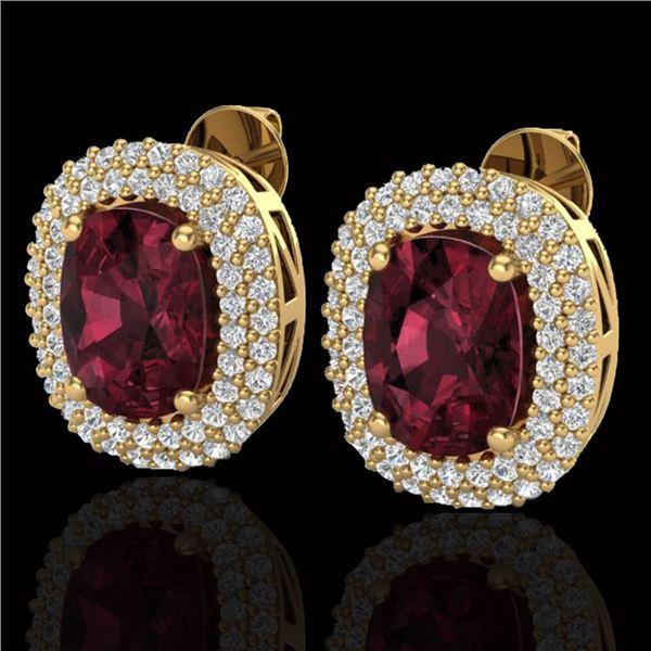 5.20 ctw Garnet & Micro Pave VS/SI Diamond Earrings 10k Yellow Gold - REF-107G3W