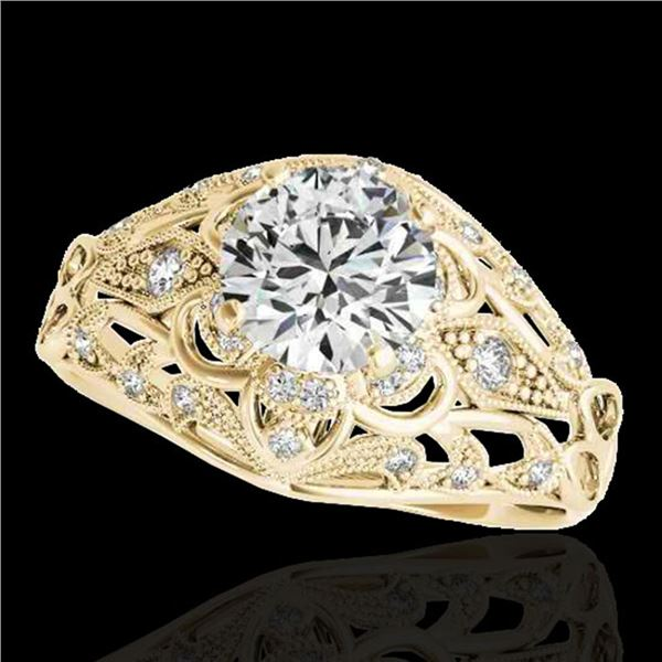 1.36 ctw Certified Diamond Solitaire Antique Ring 10k Yellow Gold - REF-197G8W