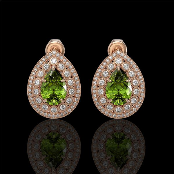 9.54 ctw Tourmaline & Diamond Victorian Earrings 14K Rose Gold - REF-225G8W