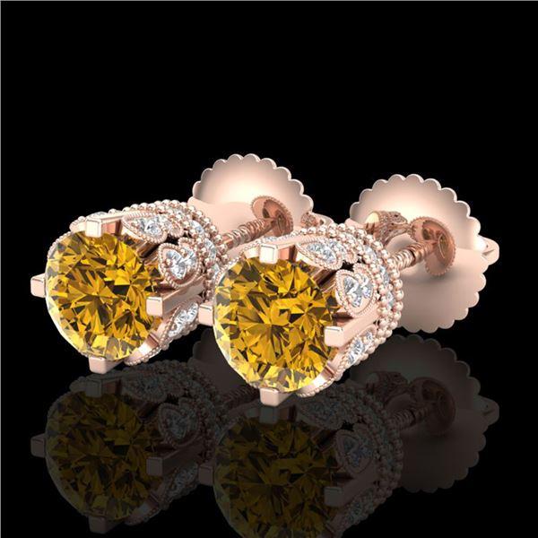 3 ctw Intense Fancy Yellow Diamond Art Deco Earrings 18k Rose Gold - REF-349Y3X