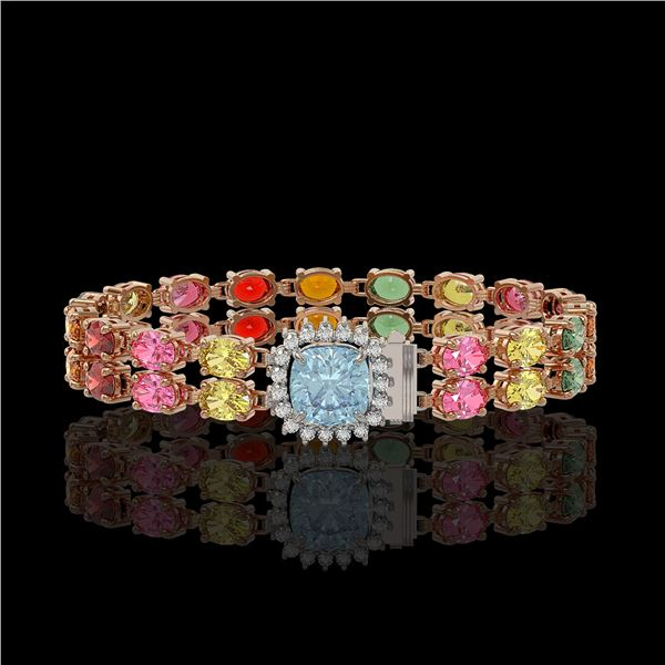 19.77 ctw Sapphire & Diamond Bracelet 14K Rose Gold - REF-245A5N