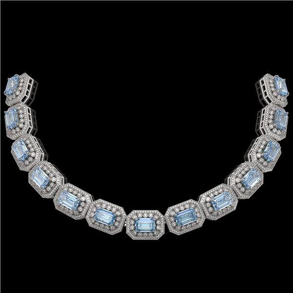 49.14 ctw Aquamarine & Diamond Victorian Bracelet 14K White Gold - REF-1361H5R