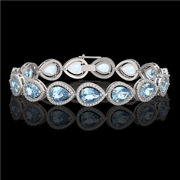 19.55 ctw Sky Topaz & Diamond Micro Pave Halo Bracelet 10k White Gold - REF-279H5R
