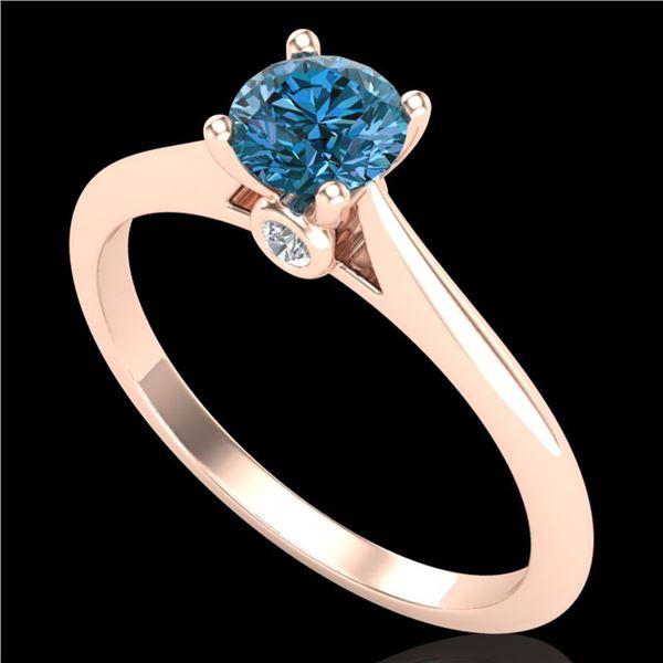 0.56 ctw Fancy Intense Blue Diamond Art Deco Ring 18k Rose Gold - REF-61F4M