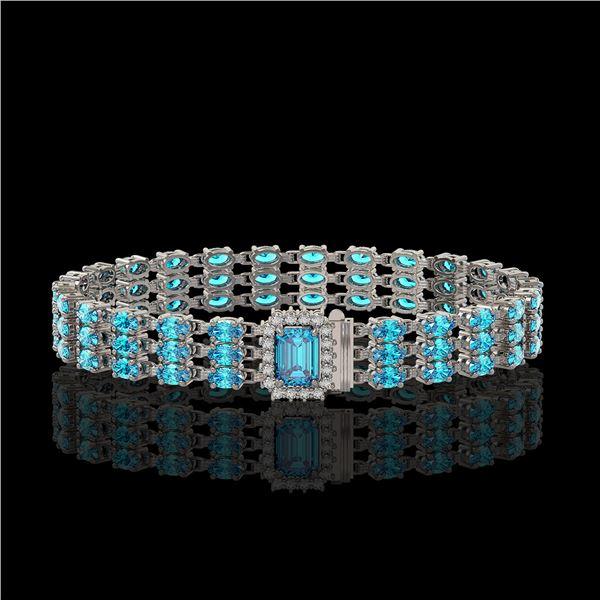26.02 ctw Swiss Topaz & Diamond Bracelet 14K White Gold - REF-318H2R