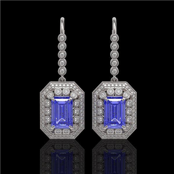 11.66 ctw Tanzanite & Diamond Victorian Earrings 14K White Gold - REF-672Y8X