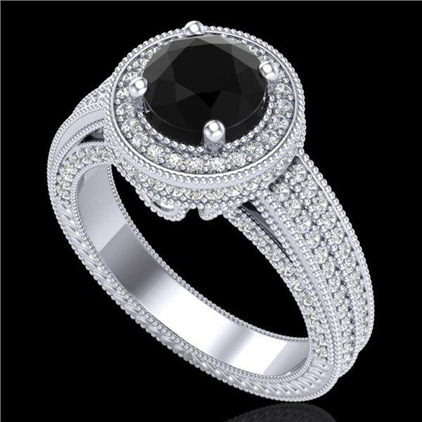 2.8 ctw Fancy Black Diamond Engagment Art Deco Ring 18k White Gold - REF-236F4M