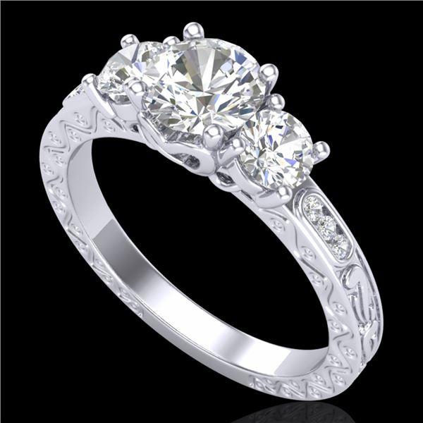 1.41 ctw VS/SI Diamond Solitaire Art Deco 3 Stone Ring 18k White Gold - REF-263R6K