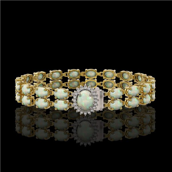 17.42 ctw Opal & Diamond Bracelet 14K Yellow Gold - REF-336F4M