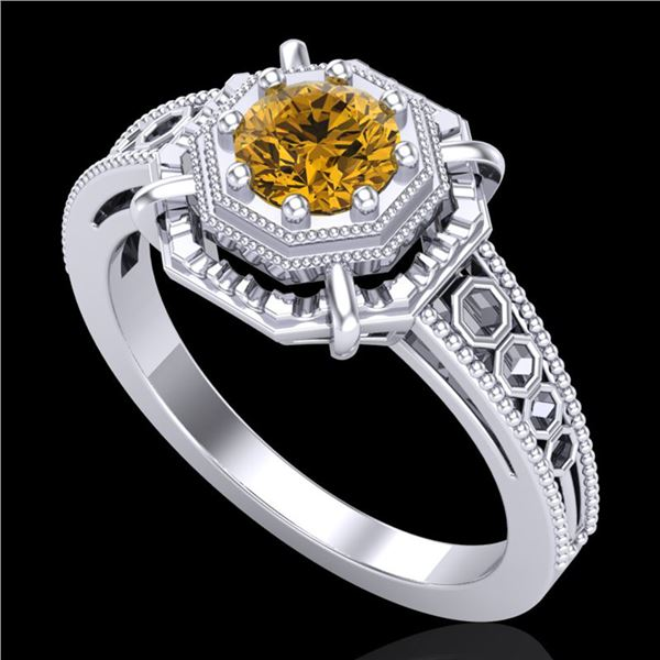 0.53 ctw Intense Fancy Yellow Diamond Art Deco Ring 18k White Gold - REF-145A5N