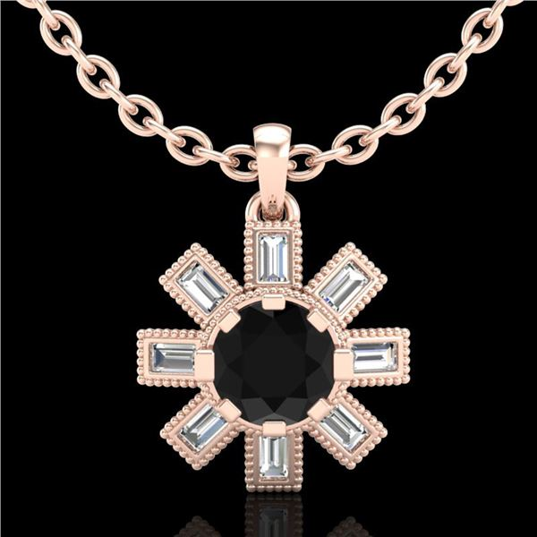 1.33 ctw Fancy Black Diamond Art Deco Stud Necklace 18k Rose Gold - REF-136X4A