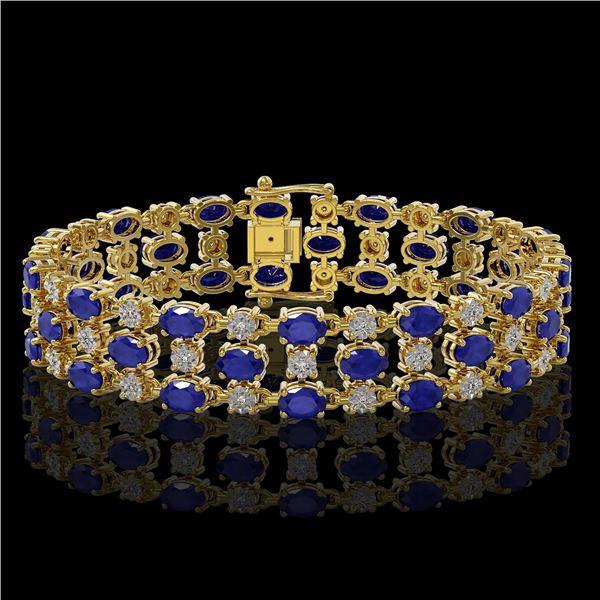 17.74 ctw Sapphire & Diamond Row Bracelet 10K Yellow Gold - REF-245M5G