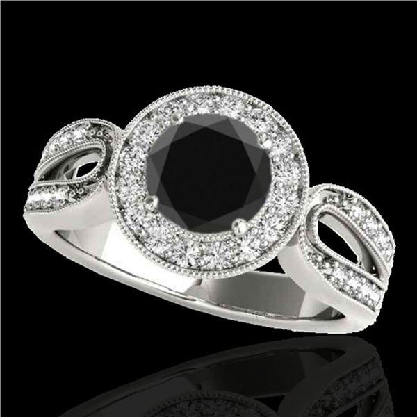 1.4 ctw Certified VS Black Diamond Solitaire Halo Ring 10k White Gold - REF-57R8K