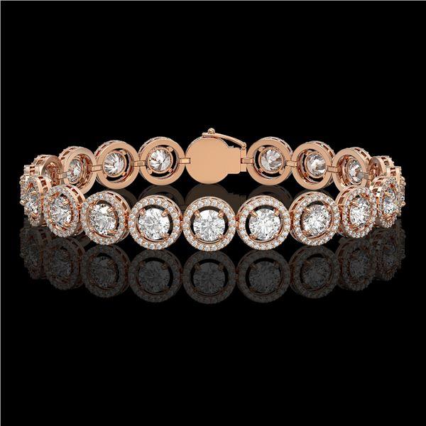 13.42 ctw Diamond Micro Pave Bracelet 18K Rose Gold - REF-1630G6W
