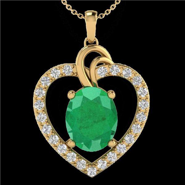 4 ctw Emerald & VS/SI Diamond Designer Heart Necklace 14k Yellow Gold - REF-81K8Y