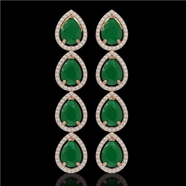 16.01 ctw Emerald & Diamond Micro Pave Halo Earrings 10k Rose Gold - REF-236G4W