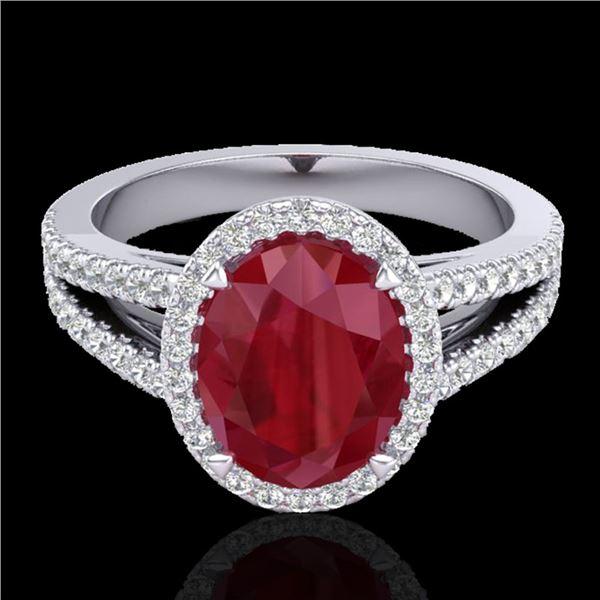 3 ctw Ruby & Micro Pave VS/SI Diamond Halo Ring 18k White Gold - REF-78M2G