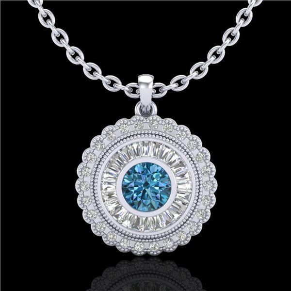 2.11 ctw Fancy Intense Blue Diamond Art Deco Necklace 18k White Gold - REF-227X3A