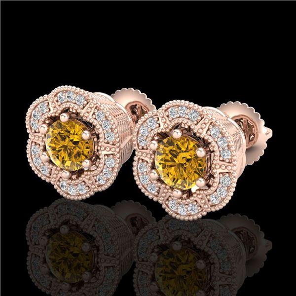 1.51 ctw Intense Fancy Yellow Diamond Art Deco Earrings 18k Rose Gold - REF-247G3W